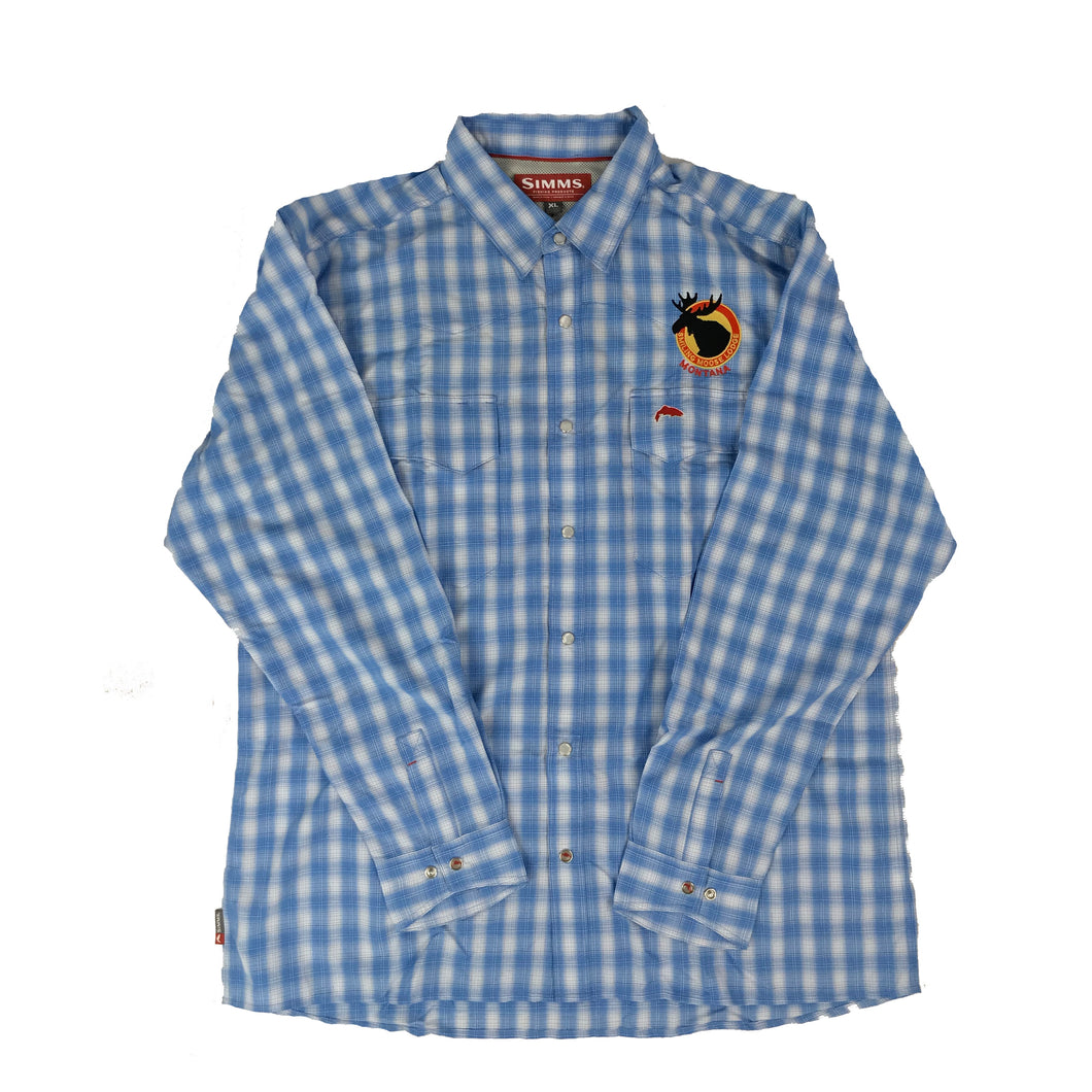 Simms Guide Long Sleeved Shirt Wide Plaid Blue