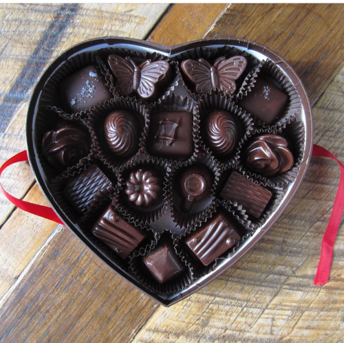 Valentine's Day Chocolate Assortment In Elegant Heart Shaped Box (16 Piece)