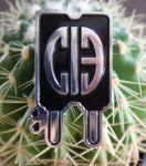 Silver and Black enamel popsicle pin featuring CIB logo