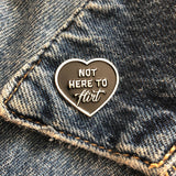 CIB Not here to flirt enamel pin in black and silver
