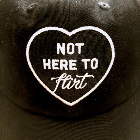 CIB Not here to flirt hat black detail on patch