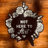 Not Here to Flirt Chicks in Bowls Heart Shaped Back Patch with Flowers