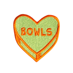 Teal with warm orange CIB Bowls heart shaped patch