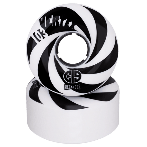 CIB x Reckless Black and White Vertex Roller Skate Wheels 101a Hardness