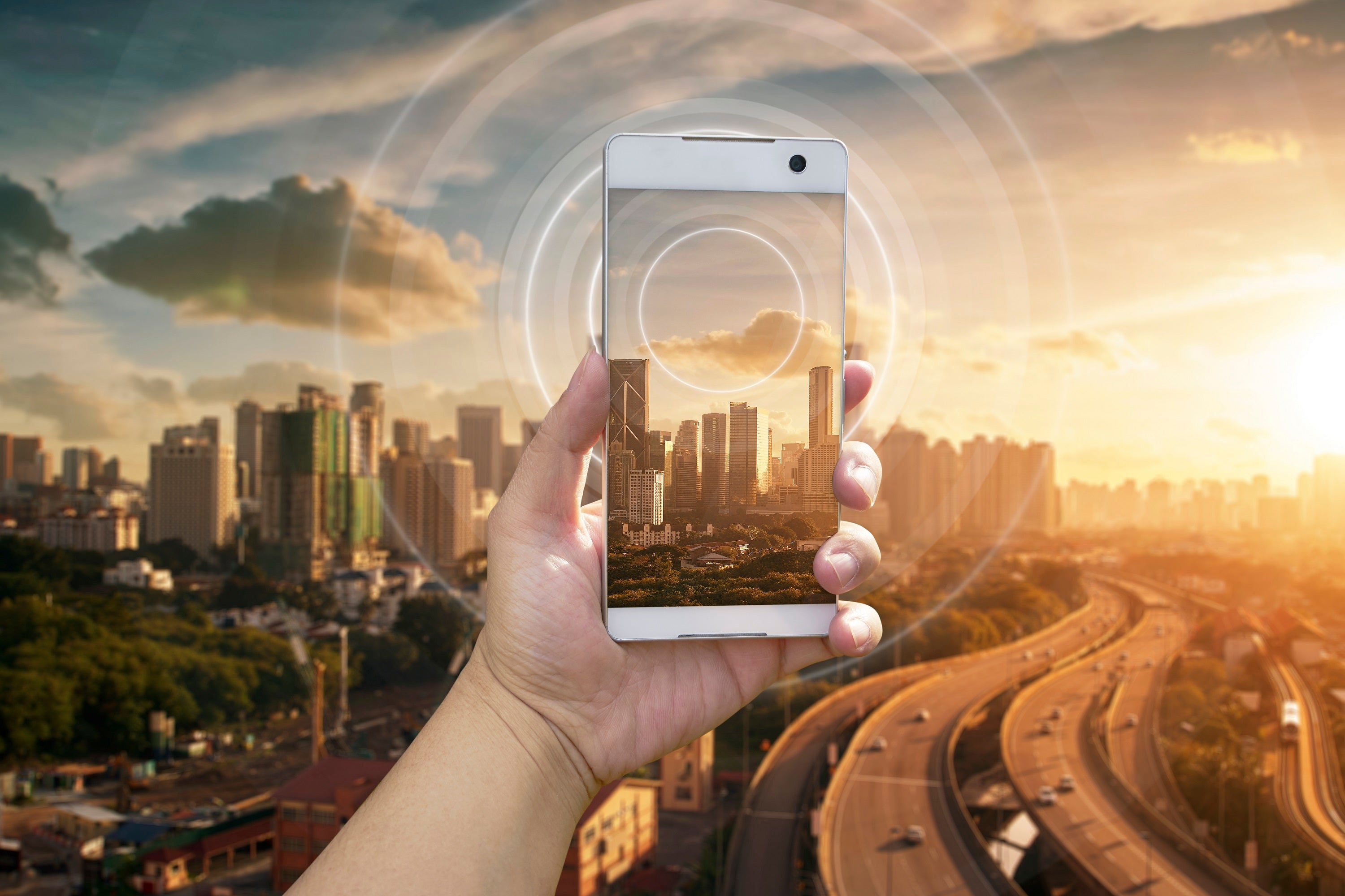 Phone being held in front of city landscape.