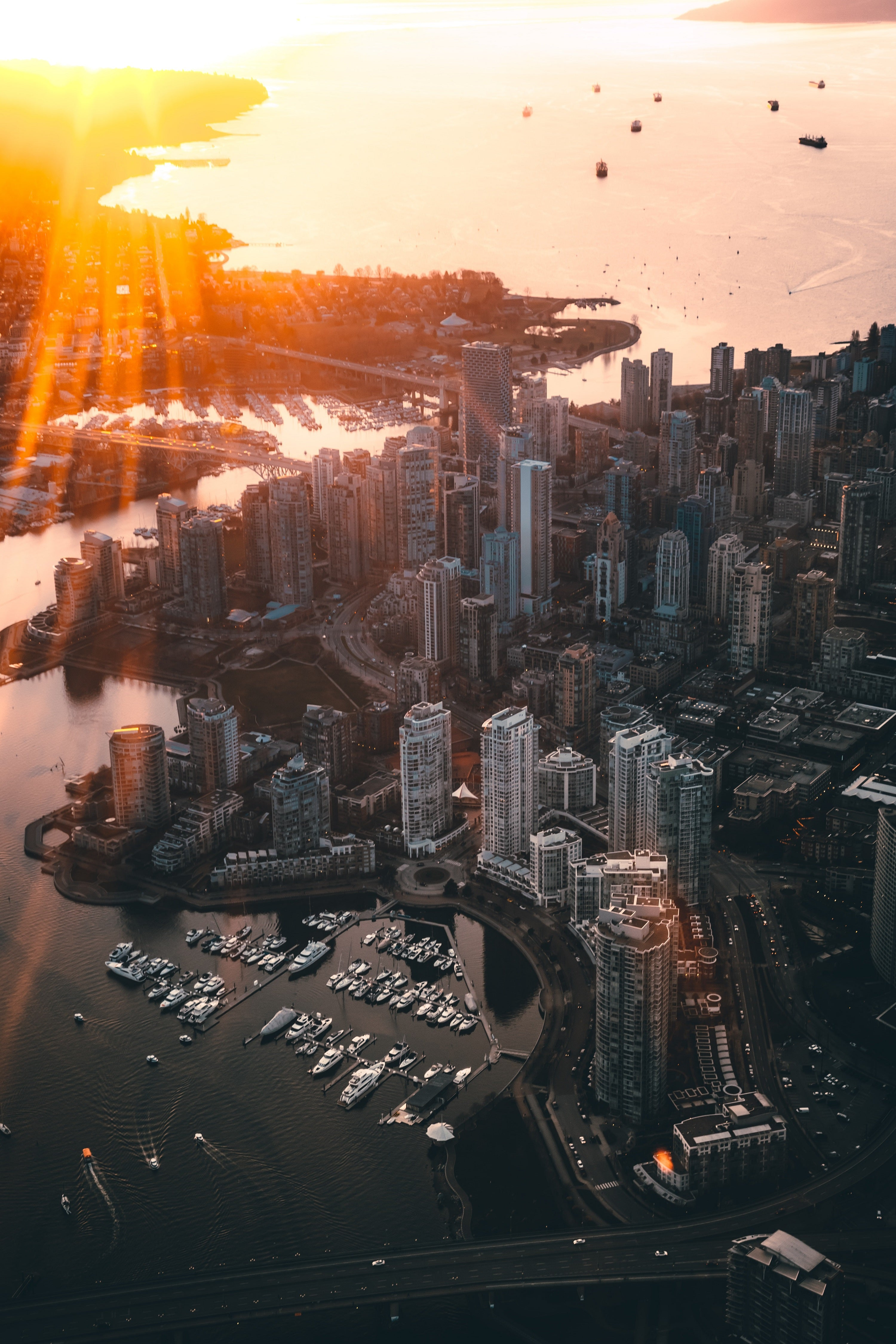 Landscape of Vancouver during sunset.
