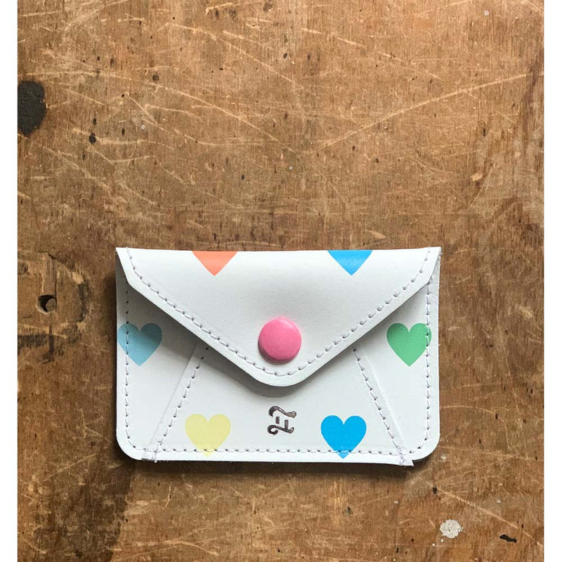 CARD WALLET PASTEL HEARTS WHITE