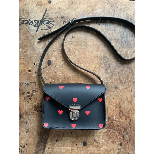SMALL CROSSBODY RED HEARTS