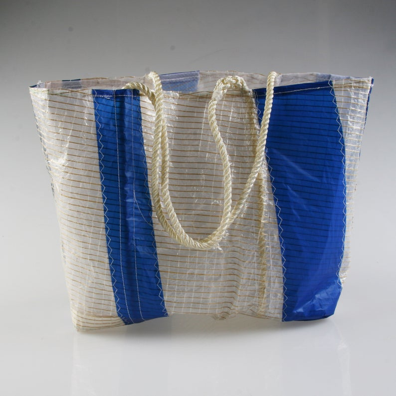 Sail Resale Large Tech Blue Vertical Stripe Heritage Carryall