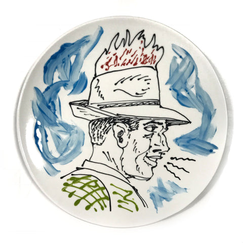 Stetson Fire ceramic plate by KRK Ryden