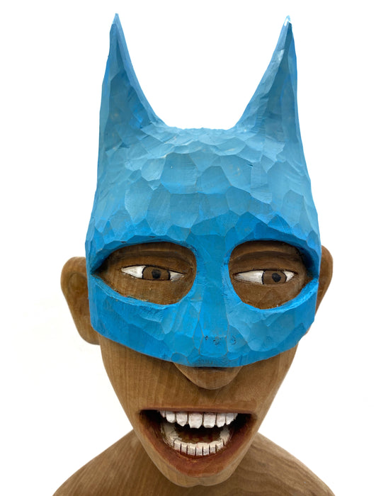 #479 Bare Bust With Batman Mask- Light Blue