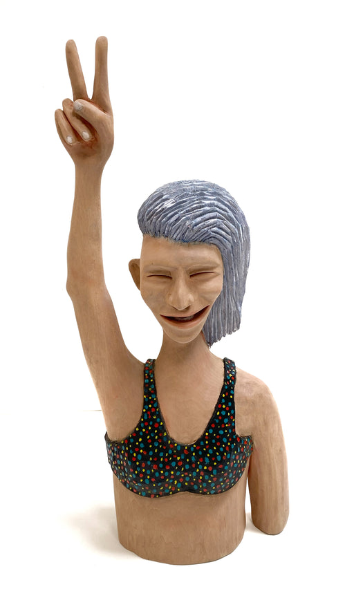 #446 Bust of Woman With Polka Dot Top, Doing Peace Sign