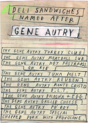 Gene Autry Sandwich List by David Fullarton