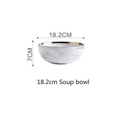 18.2cm Soup bowl Lexington Gold-Rimmed Marble Dining Set Electric Solitude
