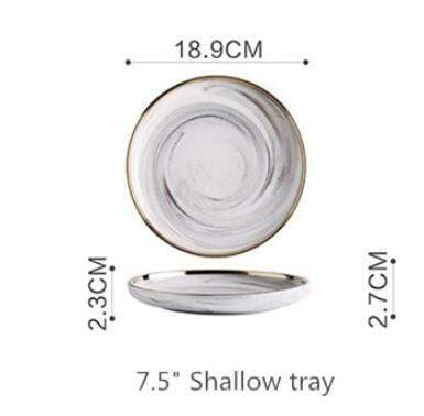 18.9cm Shallow tray Lexington Gold-Rimmed Marble Dining Set Electric Solitude