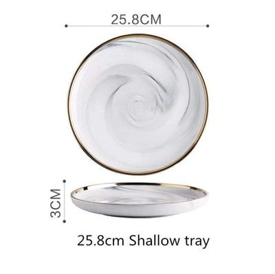 25.8cm Shallow tray Lexington Gold-Rimmed Marble Dining Set Electric Solitude