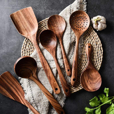 7PCS All Natural Teak Wood Cooking Set imxgine