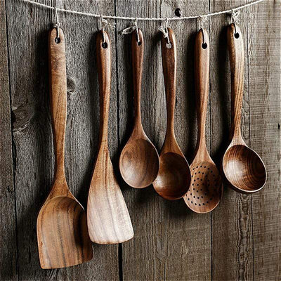 All Natural Teak Wood Cooking Set imxgine