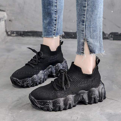Black / 6 Atomic Chunky Womens Sneakers imxgine