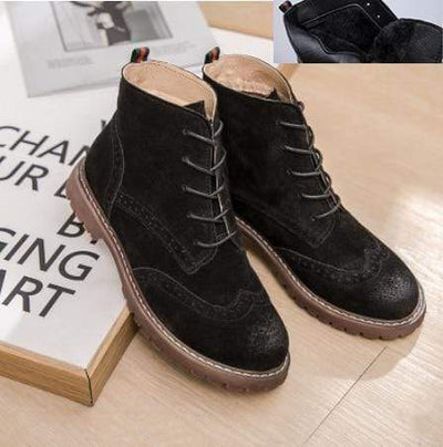 black  fluff / 36 Genuine Leather Boots Baron Supply Co