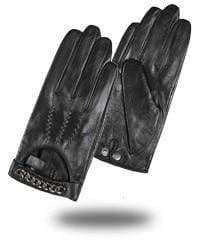 Black / L Valentina Goatskin Gloves (Genuine Leather) that Dealio