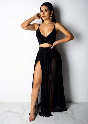 Black / S Two-Piece Maxi Dress Baron Supply Co