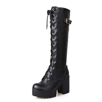 black shoes / 4 Genuine Leather Knee High Boots imxgine