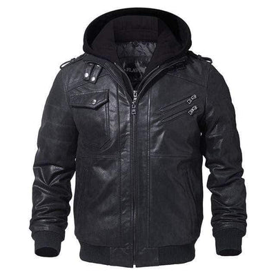 Black / XS New England Leather Co. Hooded Jacket that Dealio
