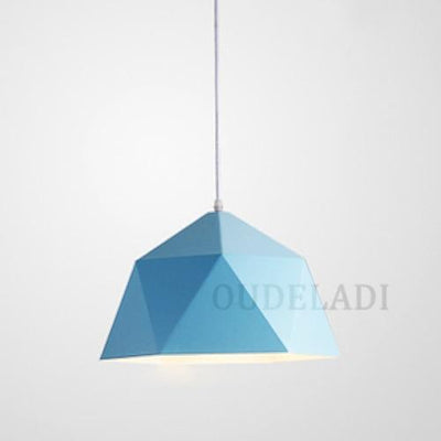 Blue / Without bulb / Dia 25cm Nordic Wrought Iron Ceiling Light imxgine