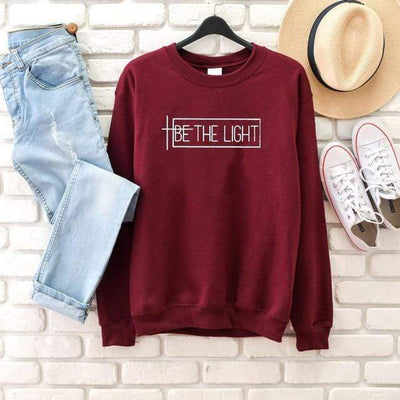 burgundy-white txt / L Be The Light Sweatshirt Electric Solitude