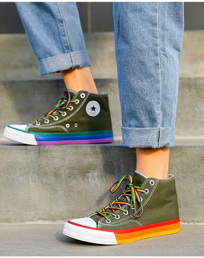Canvas Sneakers Women Vulcanized Shoes Fashion High Top Sneakers Women Shoes Rainbow Canvas Shoes Flats Tenis Feminino 35-44 imxgine