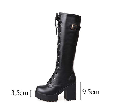 Genuine Leather Knee High Boots imxgine