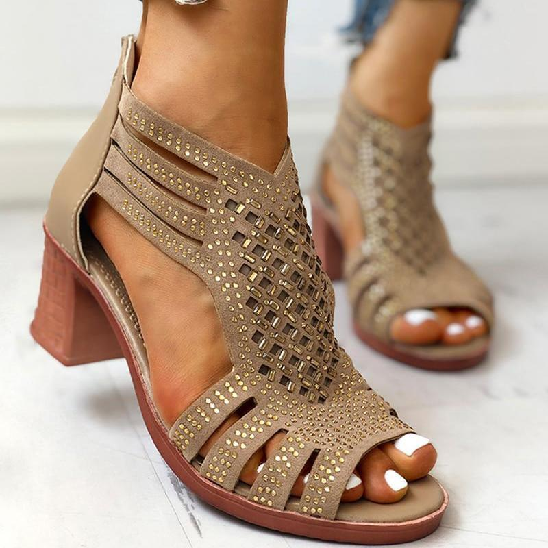 Gold / 5 Studded Leather High Heel Sandals Baron Supply Co