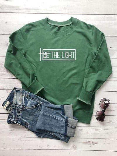 Green-white txt / XXL Be The Light Sweatshirt Electric Solitude