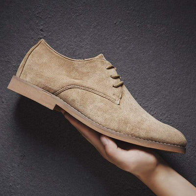 Khaki / 39 Classic Suede Oxford Genuine Leather Baron Supply Co