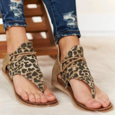 Leopard / 9 Leather Print Sandals Baron Supply Co