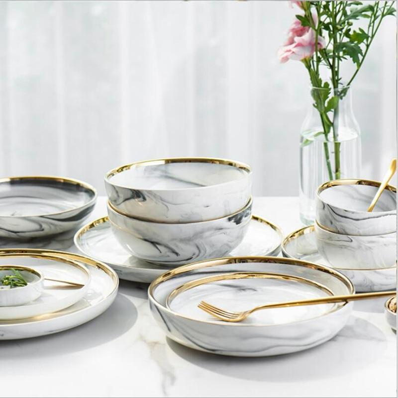 Lexington Gold-Rimmed Marble Dining Set Electric Solitude
