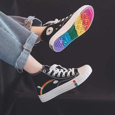 M8091-black / 5 Canvas Sneakers Women Vulcanized Shoes Fashion High Top Sneakers Women Shoes Rainbow Canvas Shoes Flats Tenis Feminino 35-44 imxgine