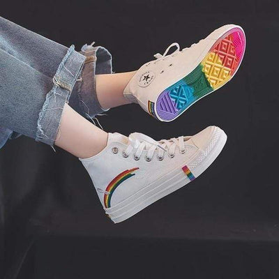 M8091-white / 10 Canvas Sneakers Women Vulcanized Shoes Fashion High Top Sneakers Women Shoes Rainbow Canvas Shoes Flats Tenis Feminino 35-44 imxgine