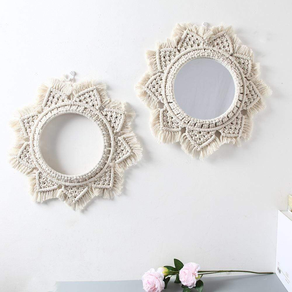 Macrame Circle Mirror Electric Solitude