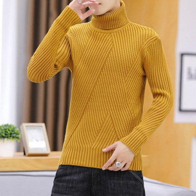 Men's Sweaters Yellow / M Leo Soft Knit Turtleneck Baron Supply Co