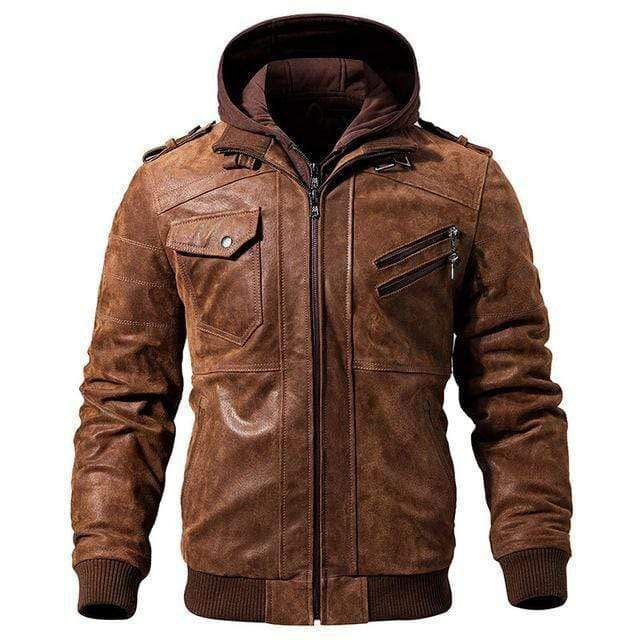 Brown / XS New England Leather Co. Hooded Jacket that Dealio