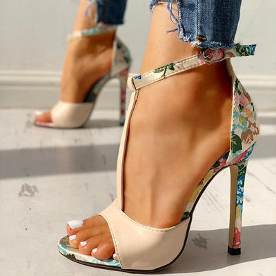 New Street Floral Heels Electric Solitude