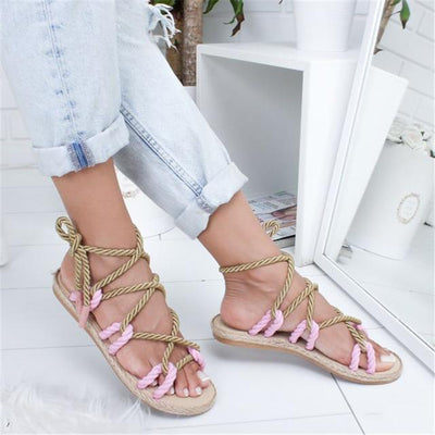 pink / 36 Tie Me Up Gladiator Sandals Electric Solitude