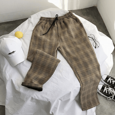 Plaid Trousers with Elastic Waist imxgine