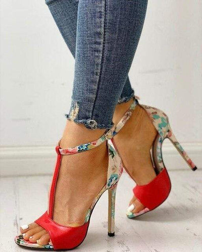Red / 37 New Street Floral Heels Electric Solitude