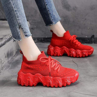Red / 7.5 Atomic Chunky Womens Sneakers imxgine