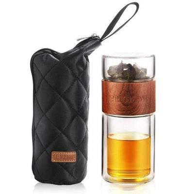 Russian Federation / Wood grain 200ml Glass Portable Tea Infuser imxgine