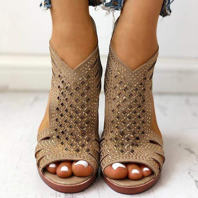 Studded Leather High Heel Sandals