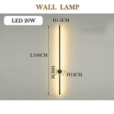wall lamp 100cm / RC dimmable / sliver body Javelin LED Wall Lamp Electric Solitude